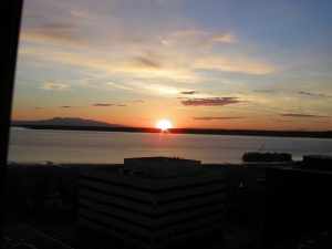 Anchorage sunset from Captain Cook Hotel