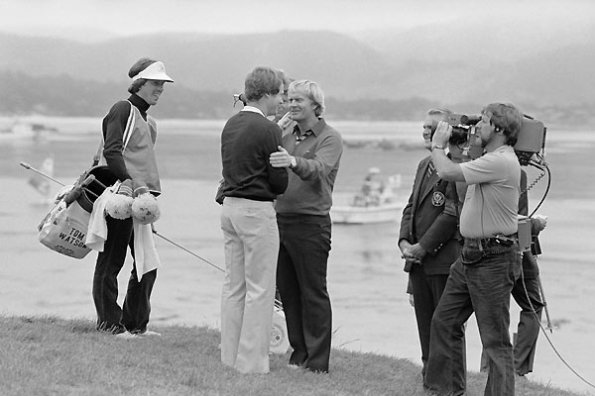 Jack congratulates Tom, 1982 US Open