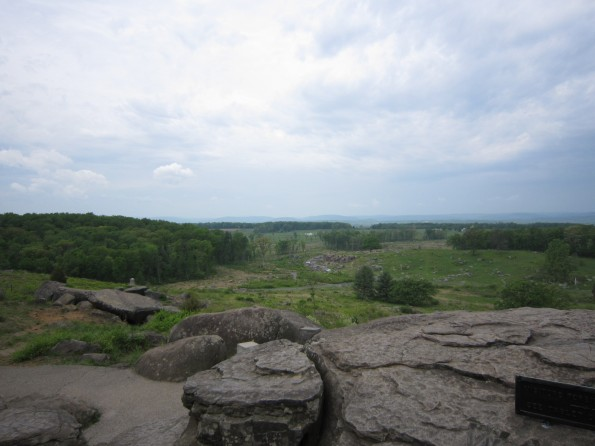 View from Little Round Top to Devil's Den, Gettysburg Battlefield