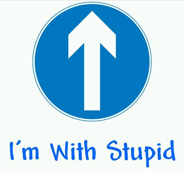 arrow pointing upwards, text says I'm with stupid