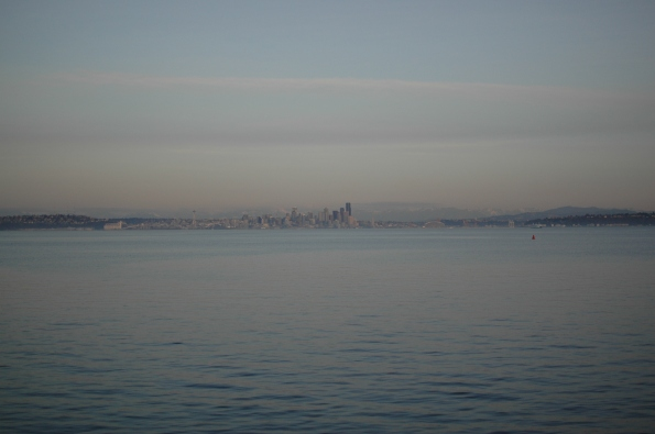 Downtown Seattle across Puget Sound from Eagle Harbor, Bainbridge Island