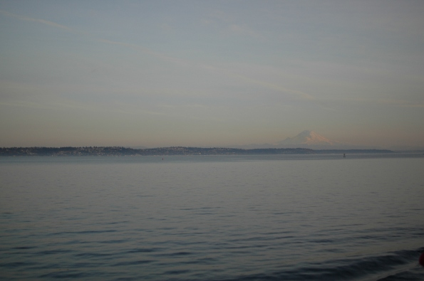 Seattle and Mount Rainier, just after departing from Bainbridge