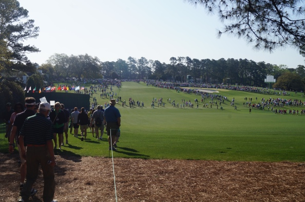 We've arrived! On the first fairway, looking back at the tee box with the 9th and 18th greens to the right.