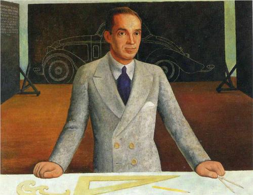 Edsel Ford, detail from Diego Rivera's murals at the Detroit Institute of Arts, 1932.