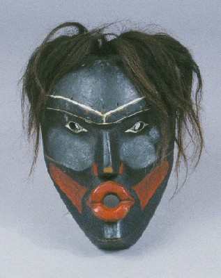 Dzoonokwa Mask, George Walkus. Wood, paint, and human hair.  From the Burke Museum.