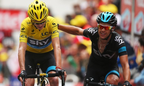 Chris Froome and Richie Porte finishing in Alpe d'Huez