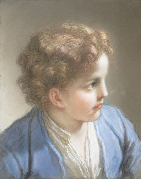 Benedetto Luti, Study of a Boy in a Blue Jacket, 1717. Pastel and chalk on blue laid paper, laid down on paste paper