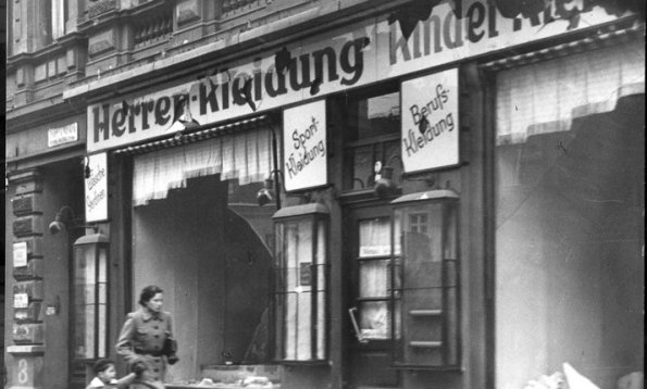 A Jewish shop, the morning after Kristallnacht