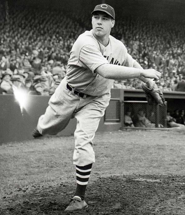 Bob Feller throwing a no-hitter on opening day, 1940, at age 21.